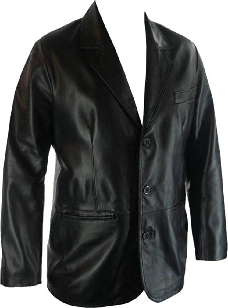 Unicorn London UNICORN Mens Real Leather Jacket Classic Suit Blazer Black #G4