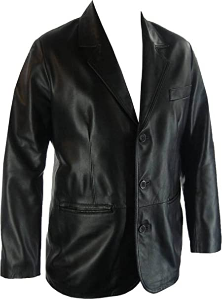 Unicorn Mens Real Leather Jacket Classic Suit Blazer Black #G4