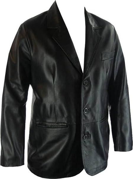 UNICORN Hombres Genuino real cuero chaqueta Estilo clásico Blazer ...