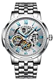 BINGER Skeleton Men's Watch Automatic Mechanical Stainless Steel Case (Steel Band White Face)