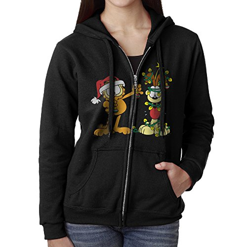 Womens Garfield Christmas Gifts Cotton Black Full Zip Hoodie With Pocket -
