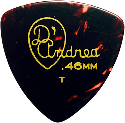D'Andrea 346 Rounded Triangle Celluloid Guitar Picks - One Dozen Shell (Celluloid Rounded Triangle)