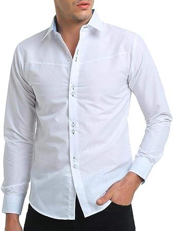 HhGold Camisa Negra para Hombre Top de Manga Larga Casual Patrón 3D Slim Fit Poliéster Personalizado Y Cuello Reino Unido Venta Gran Blusa de Jersey XXXL (Color : Blanco, tamaño : Large):