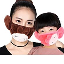 Fashion Parent-child Winter Warm Cloth Face Mouth Mask Mother & Daughter Thicken Anti Dust Anti-fog Earmuff Mouth-muffle Safety Particle Respirator Filters Bacteria Protection (adult, coffee)