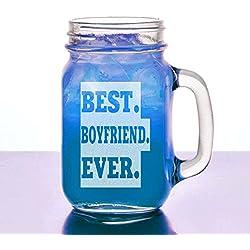 Best Boyfriend Ever 16 Oz Engraved Mason Jar with Handle Clear Glass
