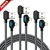Right Angle iPhone Charger Cable 3 Pack (6/6/ 6FT) Fast Charging Cord 90 Degree Data Cable Nylon Braided Compatible with iPhone X and Other Models (Black Gray, 6FT)