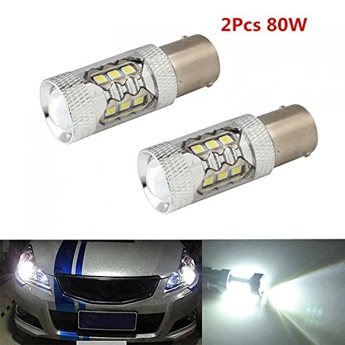 FidgetFidget Reversing Light Bulb Lamps 2Pcs CREE 16LED 80W 1156 BA15S LED Car Tail Turn
