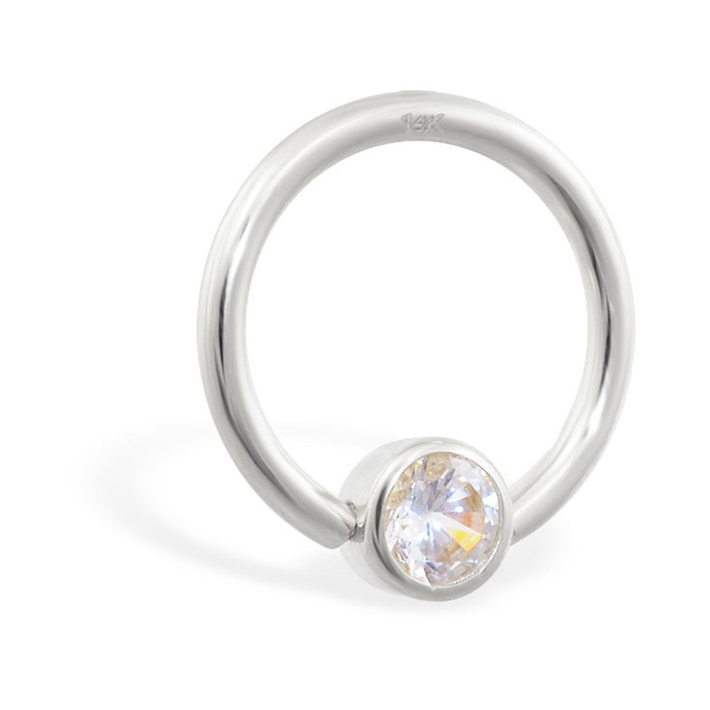 MsPiercing 14K Gold Captive Bead Ring With Cubic Zirconia, Gauge: 16 (1.2Mm), 14K White Gold, 7/16'' (11Mm) With 5/32'' (4Mm) Ball(S)