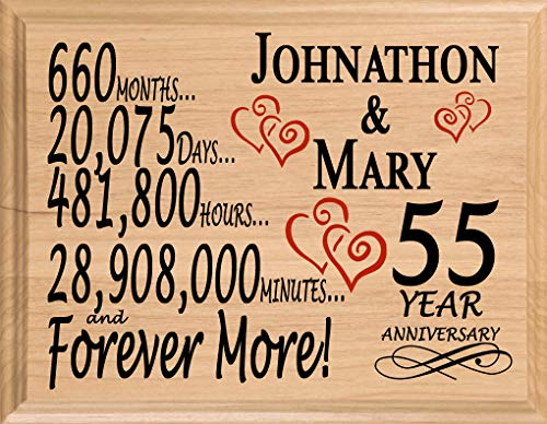Broad Bay 55 Year Anniversary Sign Personalized 55th Wedding for Wife Husband Couple Him Her