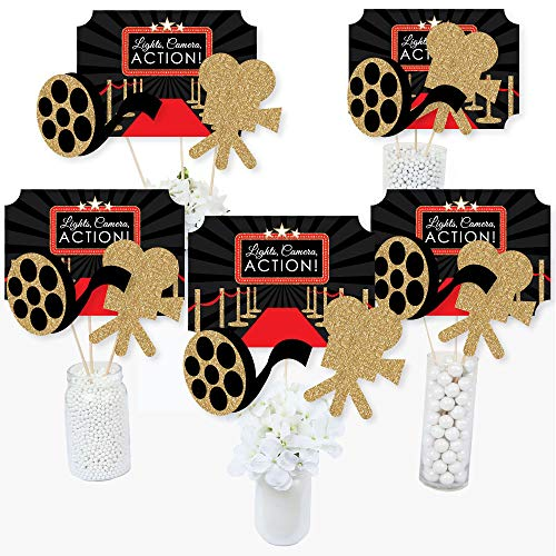Red Carpet Hollywood - Movie Night Party Centerpiece Sticks - Table Toppers - Set of 15 -