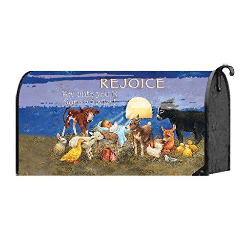 Rejoice Baby Jesus Manger Scene 18 x 22 Christmas Standard Size Mailbox Cover by Magnolia Garden
