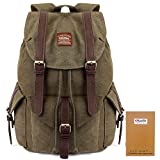 Vintage Canvas Backpack Kaukko Outdoor Travel Hiking Rucksack School Bookbags Army Green Review