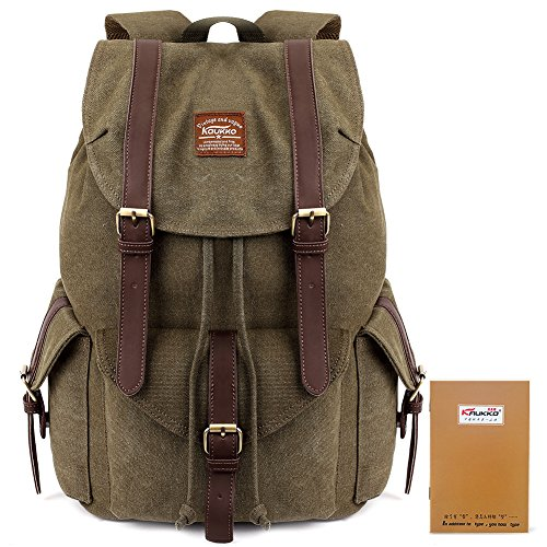 KAUKKO Multipurpose Vintage Canvas Backpack Stylish Rucksack Casual BookBags for Travel Hiking Outdoors Army Green (Stylish Bookbags)