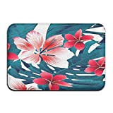 Tropical Hawaii Flowers Rectangular Doormat Made To Measure Fashion-forward Point Plastic Anti-slip Base Rug