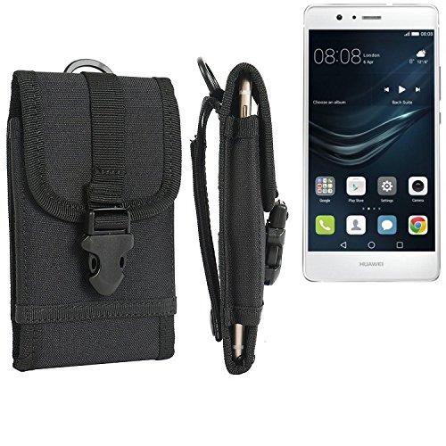 bolsa del cinturón / funda para Huawei P9 Lite Dual Sim, negro   caja del teléfono cubierta protectora bolso - K-S-Trade (TM)