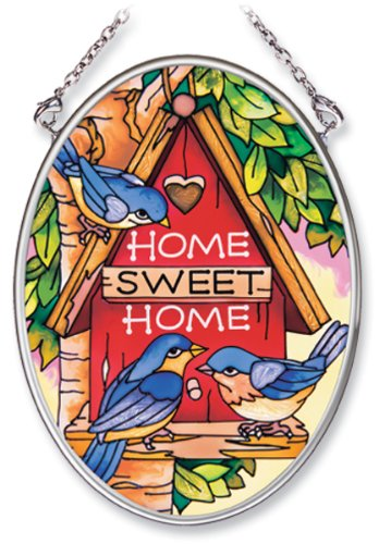 - Amia Hand Painted Glass Suncatcher with Home Sweet Home Birdhouse Design, 3-1/4-Inch by 4-1/4-Inch Oval