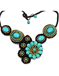 "Luxury Bib Bauble Adjustable 20-21.5"" Necklace Turquoise Flower Pattern 90-890-2258"