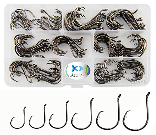 JSHANMEI 150pcs/box Circle Hooks 7384 2X Strong Custom Offset Sport Circle Hooks Black High Carbon Steel Octopus Fishing Hooks-Size:#1-5/0