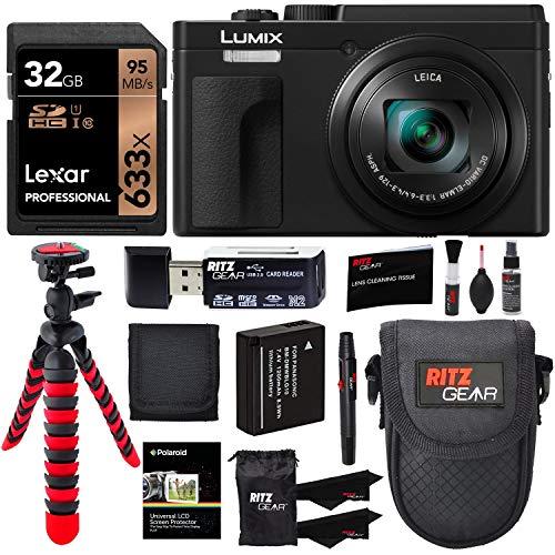 Panasonic Lumix DC-ZS80 4K Wi-Fi Digital Camera (Black) with Lexar 32GB Memory Card, Cleaning Kit, Flexi-Tripod, Camera…