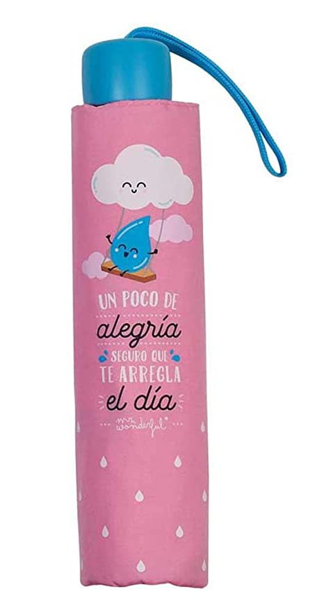Paraguas plegable Mr. Wonderful Alegría Rosa