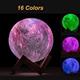 3D Printing LED Moon Lamp RGB Night Light with 16