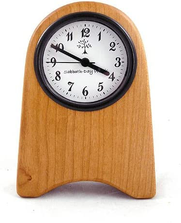 Modern Artisans American-Made Shaker Style Desk Clock, Natural Cherry Wood, 7