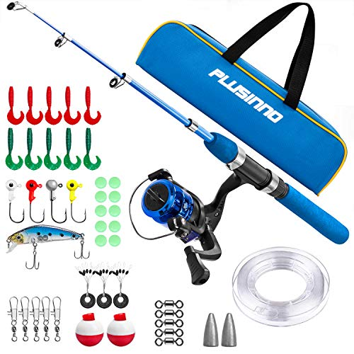 PLUSINNO Kids Fishing Pole,Light and Portable Telescopic Fishing Rod and Reel Combos for Youth Fishing (Blue Handle with Bag, 115CM 45.27In)