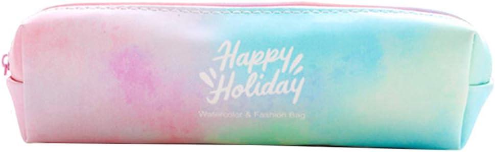 Estuche pequeño para lápices, colorido, con estampado de letras, para cosméticos, color azul small blanco: Amazon.es: Hogar