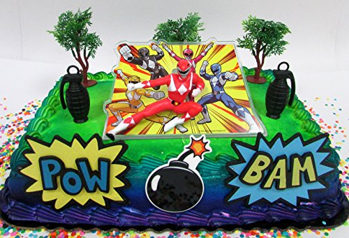 Power Rangers Birthday Cake Topper Set Featuring Figure and Decorative Themed Accessories (Power Rangers Cake Decorations)