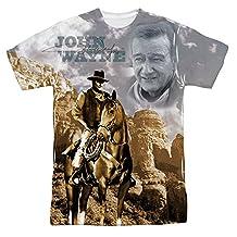 John Wayne Hollywood Icon Actor Ride Em Cowboy Adult Front Print T-Shirt Tee