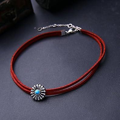 Womens Girls Elegant Velvet Ribbon Choker Collar Pendant Necklace qd nck4