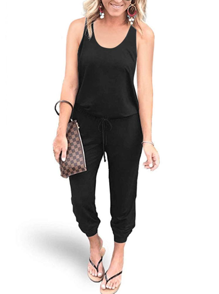 REORIA Women Summer Casual Sleeveless Tank Top Elastic Waist Loose Jumpsuit Rompers with Pockets Black Small by REORIA