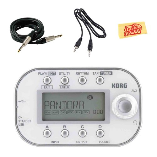 Korg Pandora Mini Personal Multi-Effects Processor for Guitar and Bass Bundle with Instrument Cable, Aux Cable, and Polishing Cloth - White