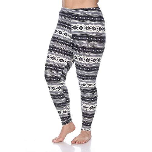4a7469877ad27 Amazon.com: White Mark Plus Size Printed Leggings Grey White: Clothing
