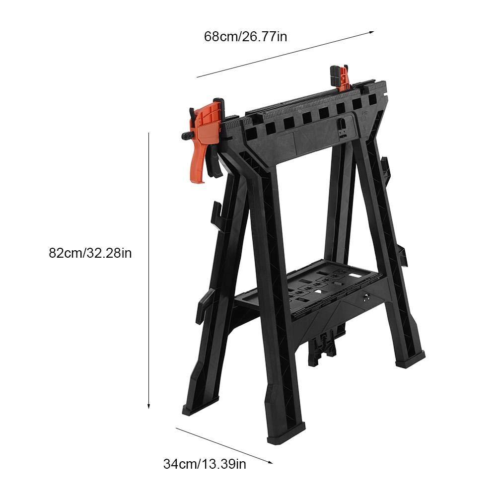 abrazadera para sierra de caballo Juego de 2 caballetes de construcci/ón de trabajo port/átiles de pl/ástico plegable con soporte para herramientas de trabajo estante integrado y ganchos para cables