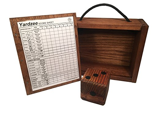 Yard Dice Storage Box with 8 player Yardzee dry erase score card - Store up to Six 3.5 Inch Dice with room for markers - Dice sold separately ()
