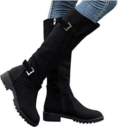 Womens Boots Below Knee Long Mid Calf Rider Boots Zip Heel Winter New Shoes Size