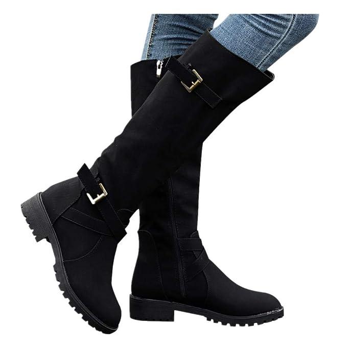 0b5e22d9d36bc Cenglings Women mid-Calf Boots Winter, Womens Knee High Calf Biker Boots  Ladies Zip Punk Military Combat Army Boots