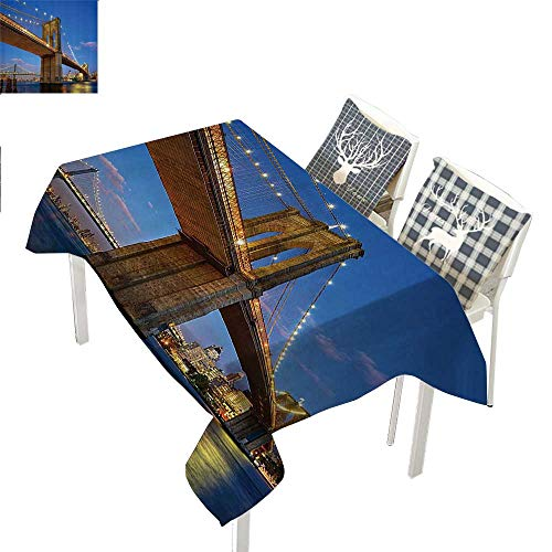 Apartment Decor Collection tablecloths party decorations Brooklyn Bridge at Twilight in New York City East River Modern Metropolis Sunset ImageBlue Ivory rectangular tablecloth W52