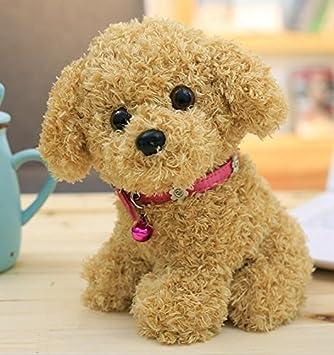 ShireyStore Teddy Plush Puppies Peluches Perros Peluche con Cuello Rosado (Khaki, 22cm)