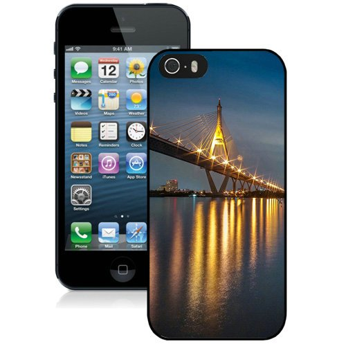 Coque,Fashion Coque iphone 5S Light Reflection Bridge At Night Noir Screen Cover Case Cover Fashion and Hot Sale Design