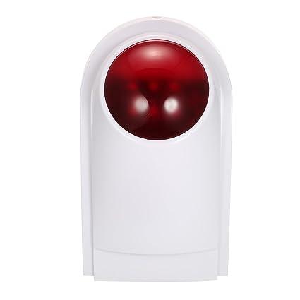 OWSOO Alarma Sirena Inalámbrico Alarma de Luz Flash Impermeable Compatible con 433MHz Control Remoto, Sensor