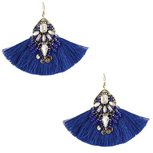 Boderier Women Statement Fringe Earrings Crystal Beaded Tassel Earrings Bohemian Dangle Earrings Jewelry (Royal (Sequin Beaded Earrings)