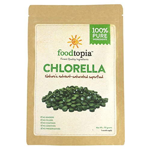 100% Pure Chlorella Vulgaris Tablets (90g / Approx. 450 tablets) Raw, non-GMO. Chewable Green Superfood Supplement. High protein, chlorophyll & nucleic acids. No preservatives / fillers. month sup