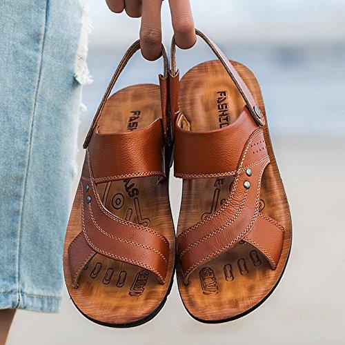Open Da Brown Hope Infradito Traspiranti Calzature Uomo Da Comodi Estate Pelle Pantofole Sandali Sandali In Spiaggia Toe qnXBatX