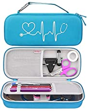 BOVKE Travel Case for 3M Littmann Classic III, Lightweight II S.E, Cardiology IV Diagnostic, MDF Acoustica Deluxe Stethoscopes - Extra Room for Taylor Percussion Reflex Hammer and Penlight, Blue