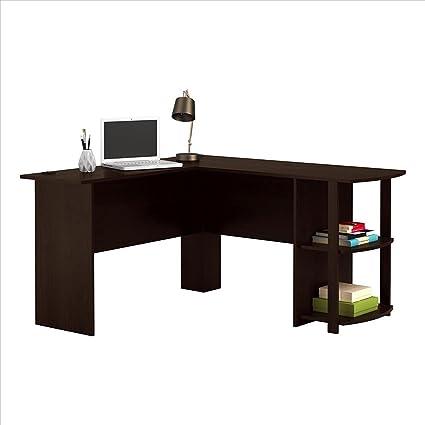 FCH L Shaped Desk Corner Computer Desk Wooden Home Office Desk With 2  Shelves ,Dark