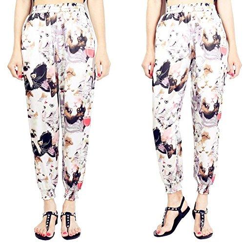 Colour Stampate Vita Libero 2 Tasche Pattern Baggy Tempo Donna Stile Con Estivi Grazioso Pantaloni Di Harem Trousers Cute Lunga Waist High Sottile Chic Elastica Stoffa Modern tYx4wq4WSI