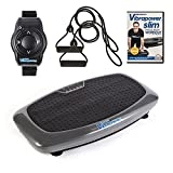VIBRAPOWER Slim 2 Vibration Plate Machine with Free DVD, Resistance Bands + Remote Watch, Graphite