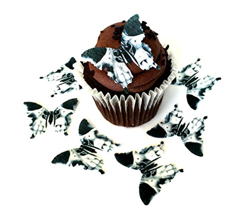Black and White Skull Halloween Dia De Los Muertos Day of the Dead Wafer Paper Butterflies 1.75 Inch for Decorating Desserts Pack of 24